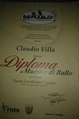 Diploma di Maestro di Ballo di Claudio Villa.